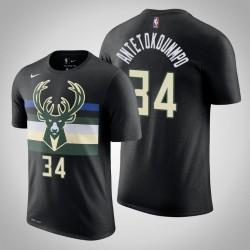 Milwaukee Bucks & 34 Giannis Antetokounmpo Statement Schwarz 2020 Saison Name & Nummer T-Shirt