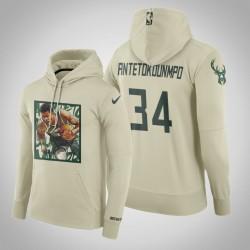 Bucks Giannis Antetokounmpo # 34 Kunstdruck Sprint Hoodie - Cream