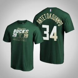 Milwaukee Bucks Giannis Antetokounmpo # 34 2019 NBA Playoffs Eastern Conference Echt Flava-Grün-T-Shirt