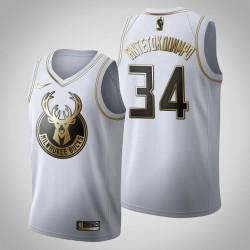 Milwaukee Bucks Giannis Antetokounmpo & 34 Golden Edition Weiß Jersey