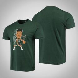 Bucks Giannis Antetokounmpo & 34 Spieler-Grafik Bobblehead meliertes Jäger-Grün-T-Shirt
