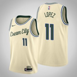 2019-20 Bucks Brook Lopez & 11 Creme City Jersey