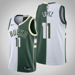 Männer Milwaukee Bucks Brook Lopez & 11 Weiß Grün Split Jersey