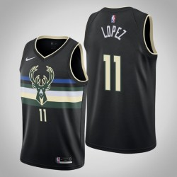 2019-20 Bucks Brook Lopez & 11 Black Jersey - Statement Ausgabe