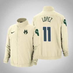 Männer Brook Lopez Milwaukee Bucks & 11 Creme Stadt DNA in voller Schnapp Jacke