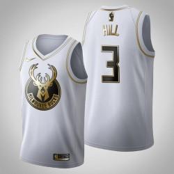 Milwaukee Bucks George Hill & 3 Golden Edition Weiß Jersey