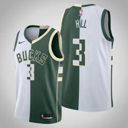 Männer Milwaukee Bucks George Hill & 3 Weiß Grün Split Jersey