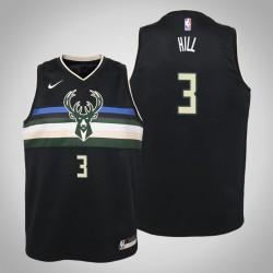 Jugend George Hill Milwaukee Bucks & 3 Statement Schwarz 2020 Saison Jersey