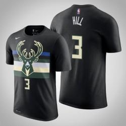 Milwaukee Bucks & 3 George Hill Statement Schwarz 2020 Saison Name & Nummer T-Shirt