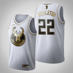 Milwaukee Bucks Khris Middleton & 22 Golden Edition Weiß Jersey