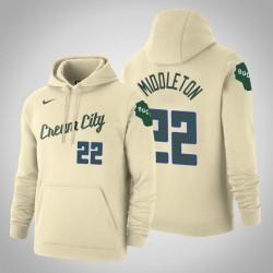 Milwaukee Bucks & 22 Khris Middleton Stadt Creme 2020 Jahreszeit PulloverHoodie