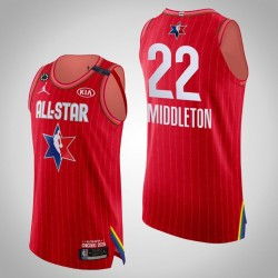 Bucks Khris Middleton & 22 2020 NBA All-Star Game Authentic Red Jersey
