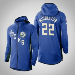 Männer Bucks Khris Middleton & 22 verdient Blau 2020 Saison Showtime Hoodie