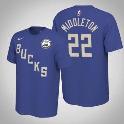 Milwaukee Bucks & 22 Khris Middleton verdient Blau 2020 Saison Name & Nummer T-Shirt