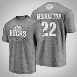 Bucks Khris Middleton & 22 Latino Heritage Nacht Clutch Shooting meliertes Grau-T-Shirt