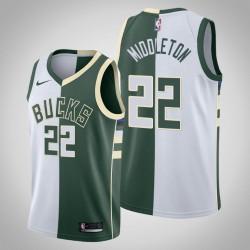 Männer Milwaukee Bucks Khris Middleton & 22 Weiß Grün Split Jersey