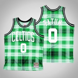 Männer Celtics Jayson Tatum & 0 Grün Private School Swingman Holz Classics Jersey