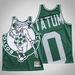 Männer Celtics Jayson Tatum & 0 Grünes großes Gesicht Swingman Mitchell & Ness HWC Jersey