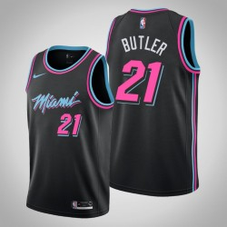 Männer Miami Heat Jimmy Butler # 21 Black Swingman Trikot - Stadt
