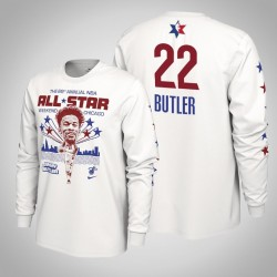 Hitze Jimmy Butler # 22 2020 NBA All-Star Weekend Spieler-Grafik-Langarmshirt Weiß T-Shirt