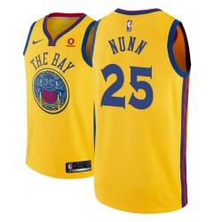 Männer NBA 2018-19 Kendrick Nunn Golden State Warriors und 25 City Gold Trikot