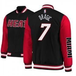 Männer Goran Dragic Miami Heat # 7 Black Satin Voll Snap-Jacke