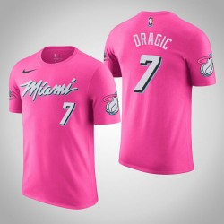Männer Goran Dragic Miami Heat # 7 verdient Rosa Name # Nummer T-Shirt