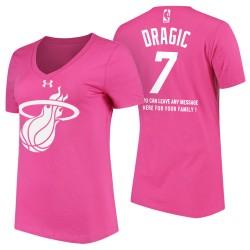 Frauen Goran Dragic Miami Heat # 7 Tag der Mutter rosa T-Shirt mit der Nachricht
