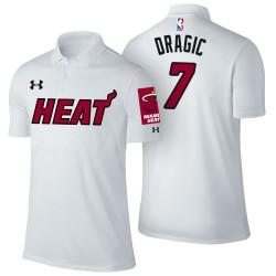 Männer Goran Dragic Miami Heat # 7 Verband Weiß Spieler Performance Polo