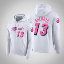 Männer Bam Adebayo Miami Heat # 13 Weiß verdient Ausgabe PulloverHoodie