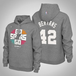 Männer San Antonio Spurs Davis Bertans & 42 Grey 2019 NBA Playoffs PulloverHoodie