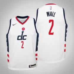 Jugend John Wall Wizards & 2 Stadt Weiß 2020 Jahreszeit Jersey