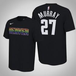 Denver Nuggets und 27 Jamal Murray verdient Schwarz 2020 Saison Name & Nummer T-Shirt