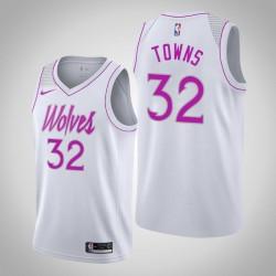 Männer NBA 2018-19 Karl-Anthony Towns Minnesota Timberwolves & 32 verdient Ausgabe Weiß Swingman Jersey