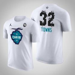 2019 NBA All-Star Game Männer Minnesota Timber Karl-Anthony Towns & 32 Weiß Der Buzz Side Sweep T-Shirt
