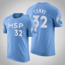 Minnesota Timberwolves & 32 Karl-Anthony Towns City Blue 2020 Saison Name & Nummer T-Shirt
