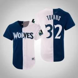 Herren Mitchell & Ness Karl-Anthony Towns Timber & 32 Split Mesh-Knopf Holz Classics Jersey