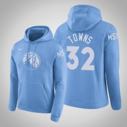 Minnesota Timberwolves & 32 Karl-Anthony Towns City Blue 2020 Jahreszeit PulloverHoodie