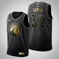 Minnesota Timberwolves Karl-Anthony Towns & 32 Schwarz Jersey - Golden Edition