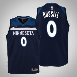 Jugend D'Angelo Russell Timber & 0 Icon Navy 2020 Saison Jersey