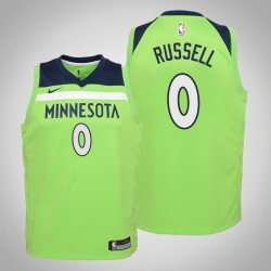 Jugend D'Angelo Russell Timber & 0 Statement Grün 2020 Saison Jersey