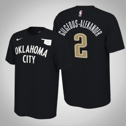 Oklahoma City Thunder & 2 Shai Gilgeous-Alexander verdient Schwarz 2020 Saison Name & Nummer T-Shirt
