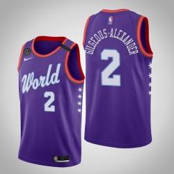 Oklahoma City Thunder Shai Gilgeous-Alexander & 2 2020 NBA Rising Star World Team Lila Jersey
