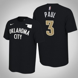 Oklahoma City Thunder # 3 Chris Paul verdient Schwarz 2020 Saison Name # Nummer T-Shirt