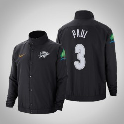 Männer Chris Paul Oklahoma City Thunder # 3 Charcoal Stadt DNA in voller Schnapp Jacke