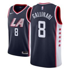 Männer NBA 2018-19 Danilo Gallinari Los Angeles Clippers # 8 Stadt Ausgabe Navy Trikot