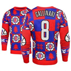Männer Danilo Gallinari Los Angeles Clippers # 8 Blue 2018 Weihnachten Sweater