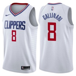 Herren 2017-18 Saison Danilo Gallinari Los Angeles Clippers # 8 Verband Weiß Swingman Trikot