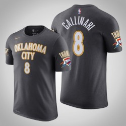 Oklahoma City Thunder # 8 Danilo Gallinari Stadt Anthrazit 2020 Saison Name # Nummer T-Shirt