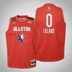 Jugend Portland Trail Blazers Damian Lillard & 0 Red 2020 NBA All-Star Game Jersey